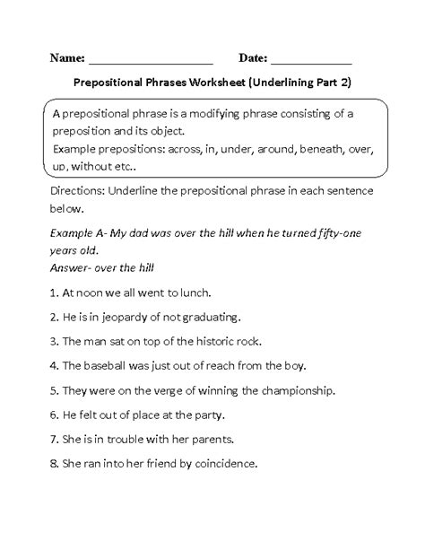 prepositions worksheets underlining prepositional phrase