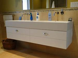 Bathroom floating trough bathroom sink with two faucets for Wall mount bathroom vanity with trough sink