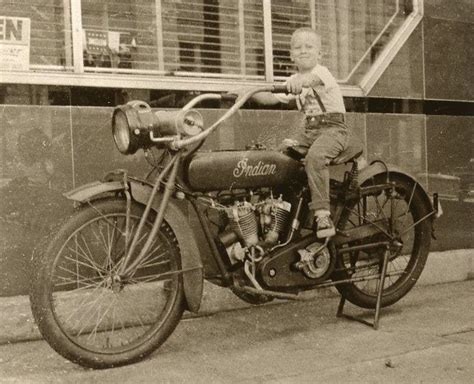 Vintage Indian Motorcycle With Little Boy Rider Photograph