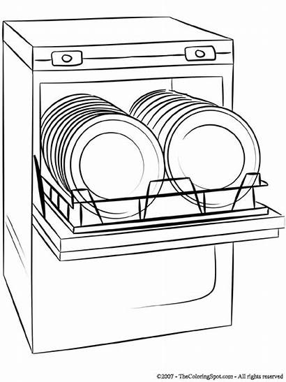 Dishwasher Clipart Coloring Pages Cartoon Flashcards Electronic