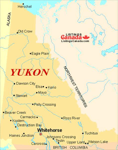 yukon map listings canada