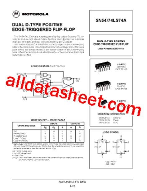 74LS74 Datasheet(PDF) - Motorola, Inc