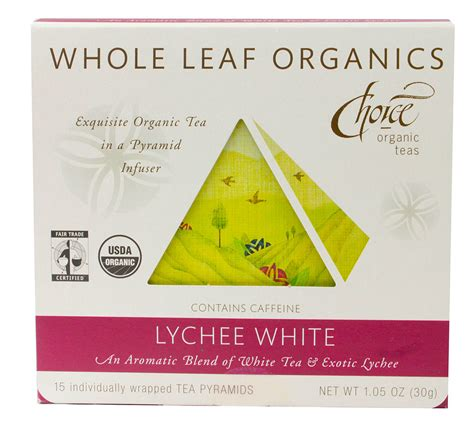 white tea 450ml choice organic teas whole leaf organics lychee white 15