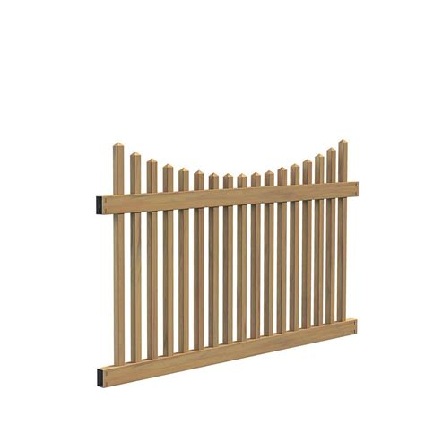 cypress home depot veranda ottawa scallop 4 ft h x 6 ft w cypress vinyl fence panel kit 73014436 the home depot