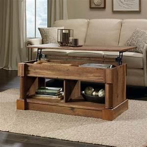 Sauder, Palladia, Wood, Lift-top, Coffee, Table, With, Open, Shelf, Space, -, Vintage, Oak