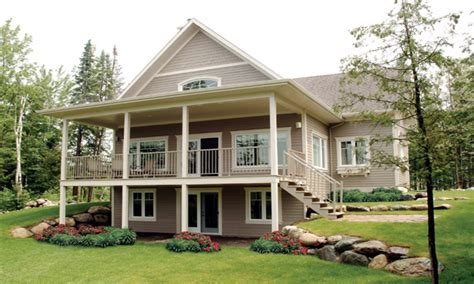 shaped house plans waterfront waterfront house plans  walkout basement waterfront home