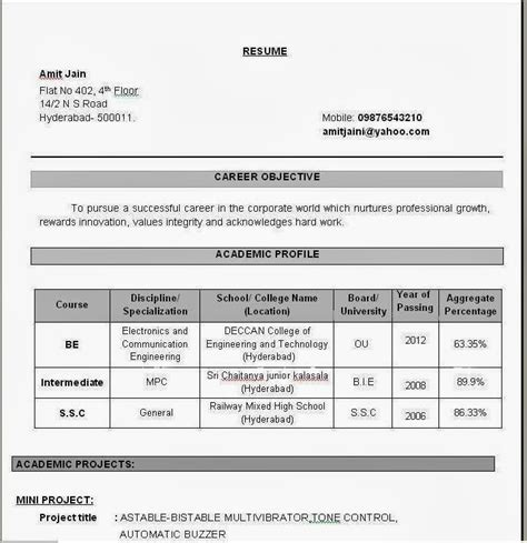 resume format for freshers electronics and communication