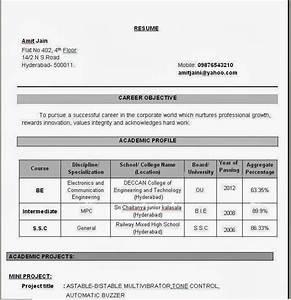 Resume Format For Freshers Electronics And munication