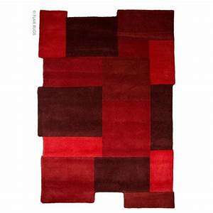 tapis laine tufte main rouge collage flair rugs 90x150 With tapis laine rouge