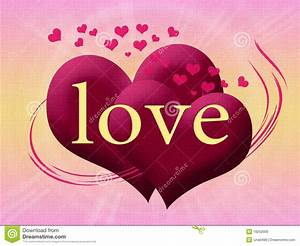 Two Pink Heart With The Word Love Stock Illustration ...