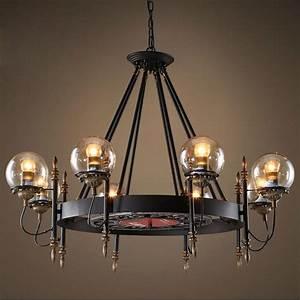 Retro pendant light black wrought iron amber glass modo