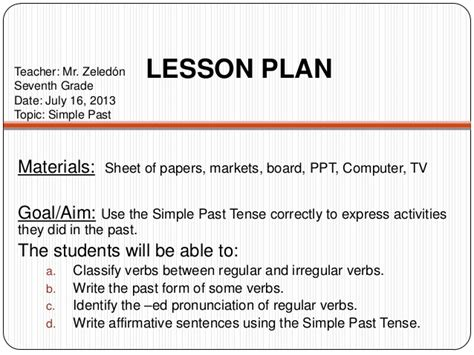 lesson plan for teaching tenses simple past