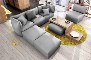Canapé D Angle Modulable : canap modulable d 39 angle en tissu modula gris mobilier ~ Melissatoandfro.com Idées de Décoration