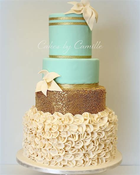 Mint Green And Gold Wedding Cake With Fondant Ruffles