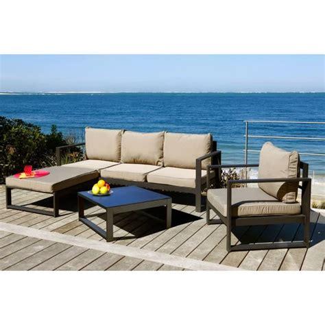 canape tresse exterieur lagoon salon de jardin 4 pièces aluminium peint noir et