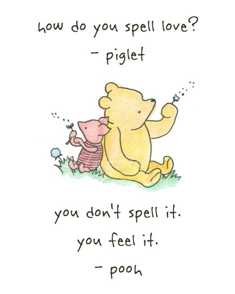 winnie  pooh  piglet quote wall watercolor painting