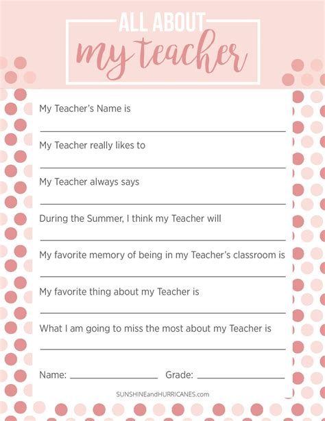 appreciation week questionnaire a personalized 900   All About My Teacher Printable New 2