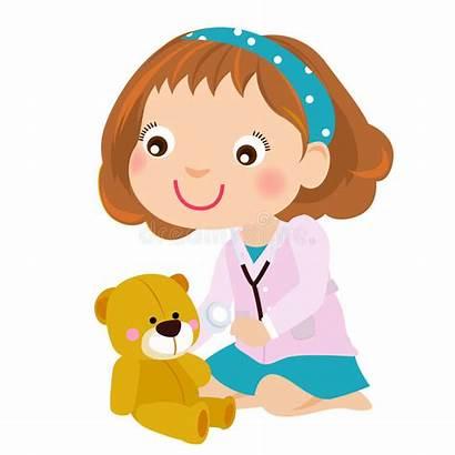 Doctor Playing Teddy Bear Kid Clipart Illustration