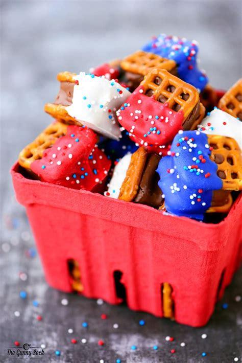 red white  blue pretzel bites  gunny sack