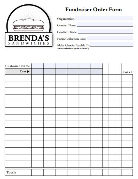 fundraiser order form templates word excel  formats