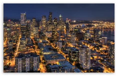 Seattle At Night From The Space Needle Hdr 4k Hd Desktop