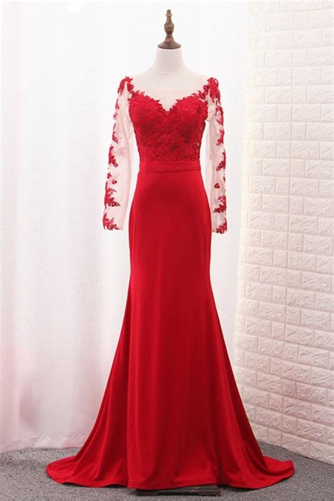 Long Sleeves Lace Mermaid Red Mother of the Bride Dresses ...