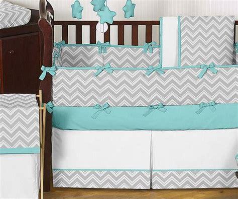 Gray And Turquoise Chevron Zig Zag Baby Bedding  9 Pc