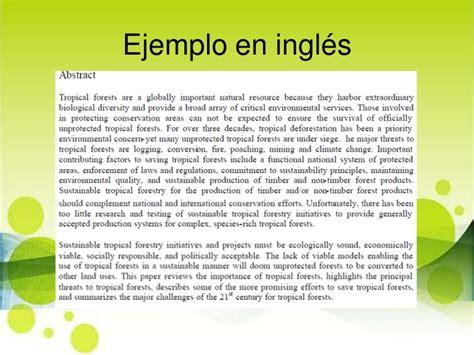 Un Resumen En Ingles by Como Hacer Un Abstract