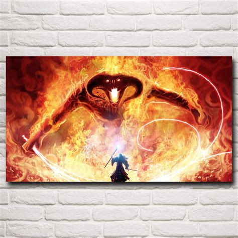gandalf the lord of the rings balrog silk poster home wall decor painting