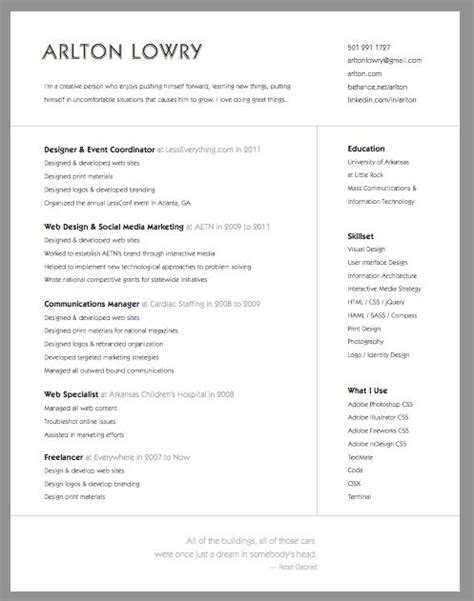 Clean Creative Resume Templates by Simple And Clean Resume From Arlton Lowry Lowry