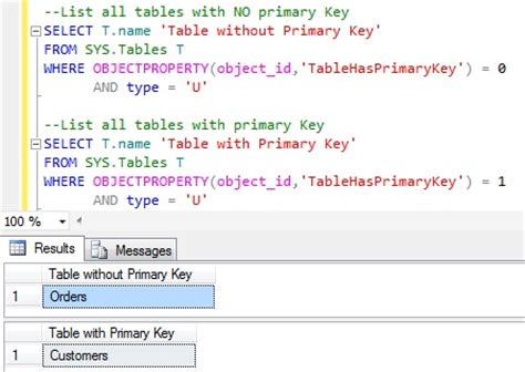 sql list all tables how to get all the tables with or without primary key