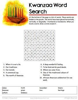 kwanzaa wordsearch vocabulary worksheet december