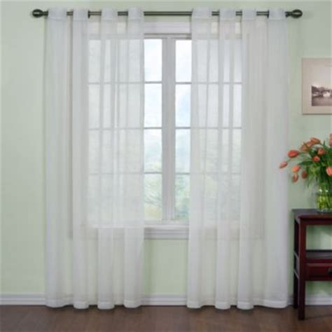 white sheer curtains bed bath and beyond buy voile 95 inch sheer window panels with grommets in