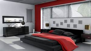 Red, white and black bedroom wallpaper