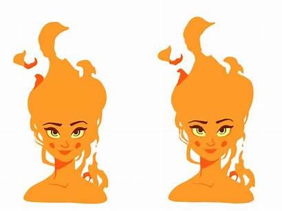 Fire Animation Character Dribbble Cartoon Female Pixel