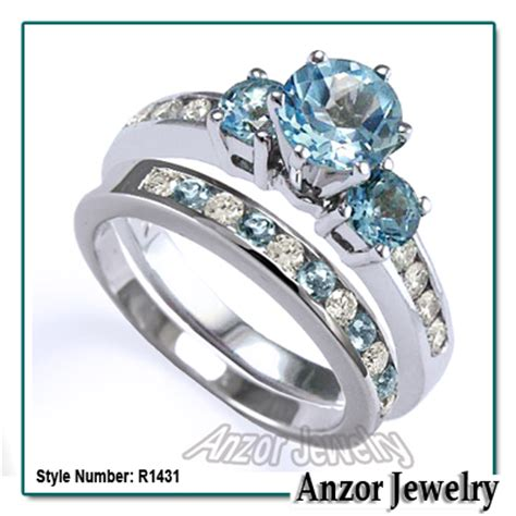 anzor jewelry 14k solid white gold blue topaz and engagement ring
