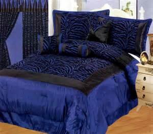 new satin zebra print navy blue black comforter set twin full queen king curtain