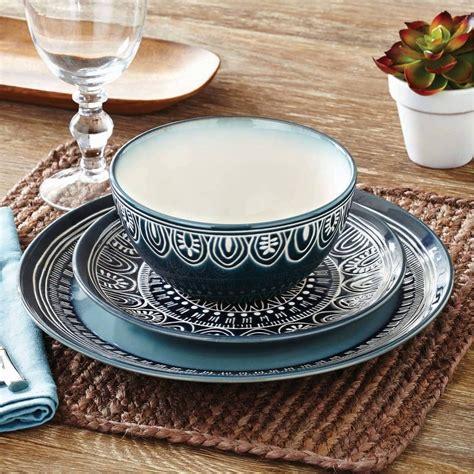 dinnerware sets dinner porcelain homes dishes teal better gardens plates plate medallion piece kitchen stoneware service walmart round bowls fine