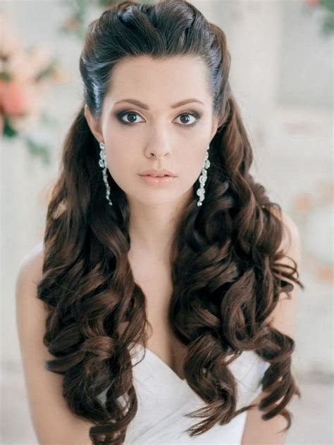 Pulled Back Curls Long Curly Wedding Hair Styles   Nail