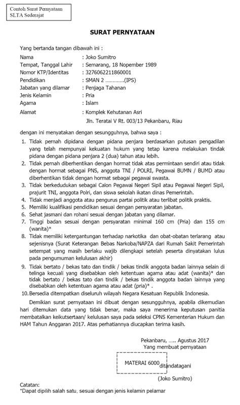 Contoh Surat Pernyataan Cpns by Contoh Surat Lamaran Cpns Untuk Guru