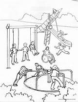 Playground Coloring Pages Drawing Cafeteria Printable Getcolorings Getdrawings sketch template