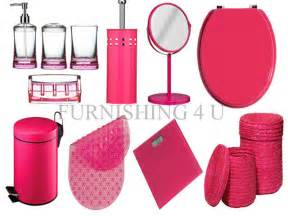 11pc hot pink bathroom accessories set bin toilet seat