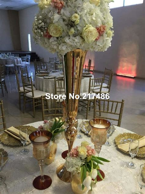 wholesale beautiful metal flower vase gold paited - Cheap Vases For Wedding