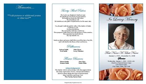 memorial roses trifold funeral program template elegant