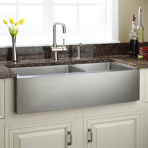 33 quot optimum 60 40 offset double bowl stainless steel farmhouse sink curved apron kitchen