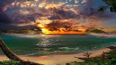 Scenic Earth Beach Desktop Heaven Wallpapers Sunset