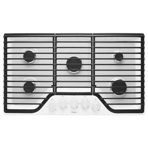 whirlpool 5 burner gas cooktop whirlpool 36 in gas cooktop in white with 5 burners
