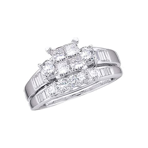 10kt white gold womens princess bridal wedding