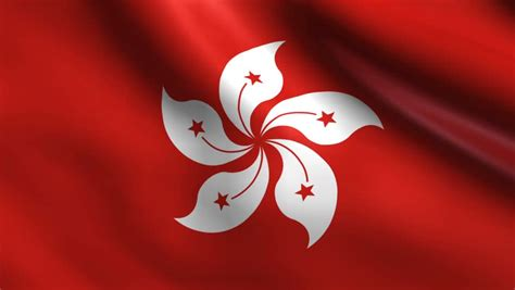 Flag Of Hong Kong Blows Slowly In The Wind Stock Footage