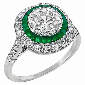 1.71 Carat Old European Cut Diamond Emerald Double Halo ...